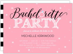 Pink and Black Theme Printable Bachelorette Invitation