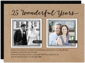 Wonderful Years Printable Anniversary Invitation