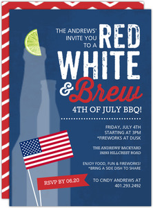 Red White Brew Celebration Printable Fourth Of July Invitation