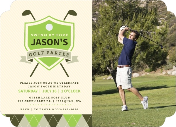 Custom golf party invites and golf tournament invites elegant golf birthday partee photo invitation filmwisefo