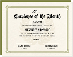 Green Employee of the Month Printable Certificate