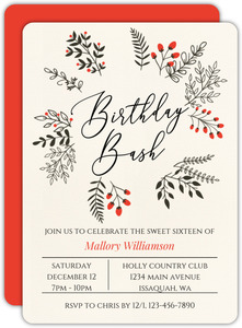 Winter Leaves And Berries Wreath 40th Birthday Invitation