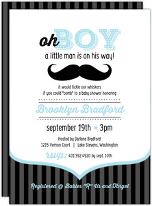 Blue and Black Moustache Boy Printable Baby Shower Invitation