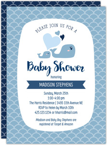 Blue Whale Printable Baby Shower Invitation