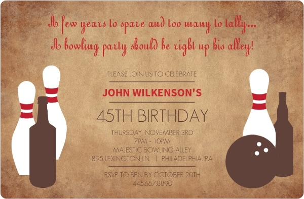 Sports party invitations rustic pins adult bowling 45th birthday invitation stopboris Choice Image