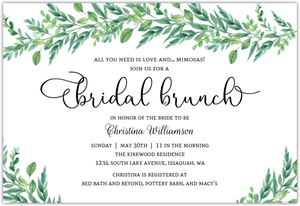 Gorgeous Greenery Online Bridal Shower Invite