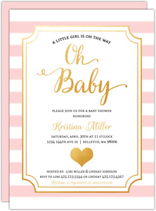 Modern Chic Pink Girl Printable Baby Shower Invitation