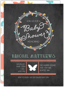 Butterfly Wreath Baby Girl Printable Shower Invitation