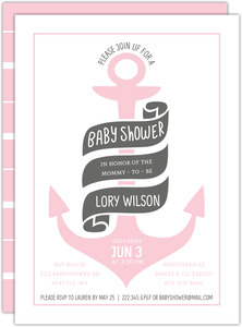 Colored Anchor Nautical Printable Baby Shower Invitation