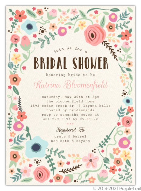 photograph about Printable Bridal Shower Invitations known as Whimsical Back garden Body Printable Bridal Shower Invitation