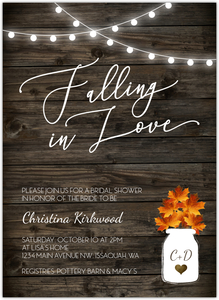 Rustic Falling In Love Online Bridal Shower Invitation