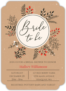 Winter Leaves And Berries Wreath Online Bridal Shower Invitation