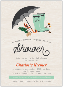 Rustic Rain Boots and Foliage Online Bridal Shower Invitation