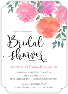 Pink Watercolor Peonies Online Bridal Shower Invitation