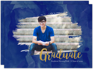 Blue Watercolor & Faux Gold Printable Graduation Save The Date Card