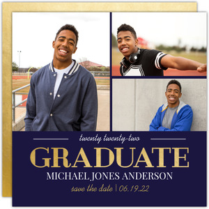 Navy and Gold Graduation Printable Save the Date Card