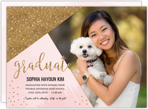 Modern Pink & Faux Gold Glitter Printable Graduation Announcement