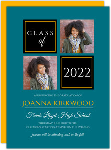 Organized Color Photo Grid Printable Graduation Announcement