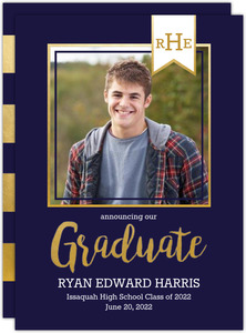 Monogram Banner Navy Printable Graduation Announcement