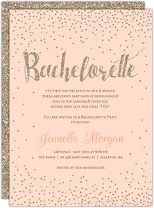 Champagne Faux Glitter Printable Bachelorette Invitation