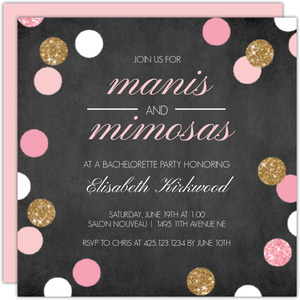 Manis and Mimosas Printable Bachelorette Invitation
