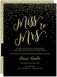 Black & Glitter Miss to Mrs Printable Bachelorette Invitation