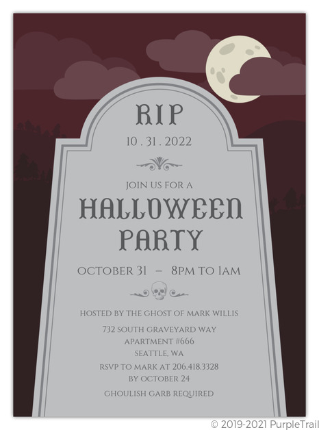 photograph about Printable Halloween Party Invitations referred to as RIP Tombstone Printable Halloween Celebration Invitation