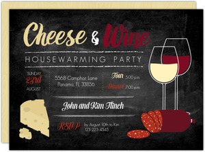 Cheese And Wine Printable Housewarming Party Invitation