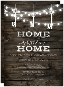 Hanging Key Lights Printable Housewarming Party Invitation