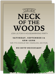 Rustic Neck Of The Woods Printable Housewarming Party Invitation