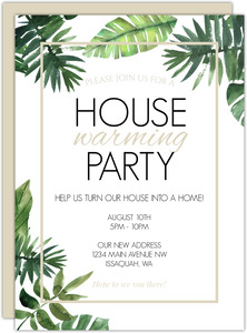 Tropical Green Leaves Printable Housewarming Party Invitation