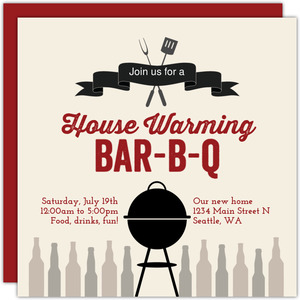 Banner and Grill BBQ Printable Housewarming Party Invitation