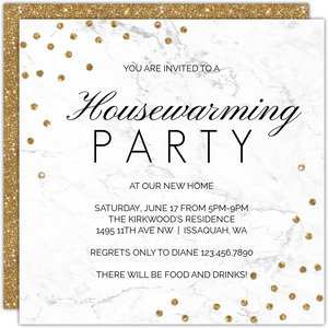 White Marble And Glitter Printable Housewarming Party Invitation