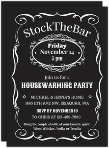 Vintage Stock The Bar Printable Housewarming Party Invitation