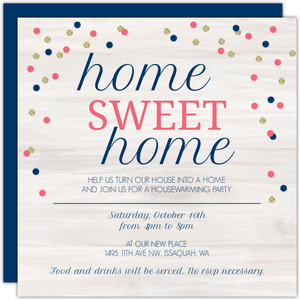 Woodgrain And Confetti Printable Housewarming Party Invitation