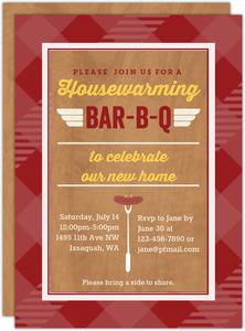 Barbecue Printable Housewarming Party Invitation