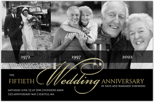Black Gold Classic Photo Online Anniversary Invitation