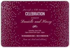 Silver Foil Confetti Online Anniversary Party Invitation