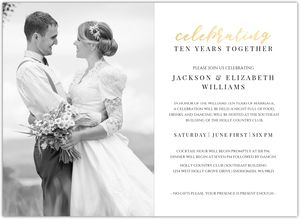 Elegant Gold Script Photo Online Wedding Anniversary Invitation