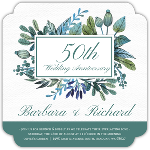 Turquoise Foliage Online Wedding Anniversary Invitation