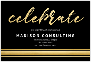 Gold Foil Celebrate Online Corporate Event Invitation