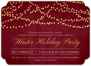Gold Foil Hanging Lights Online Holiday Party Invitation