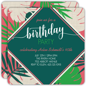 Bright Tropical Leaves 40th Birthday Invitation