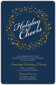 Golden Twinkling Wreath Holiday Cheers Online Business Holiday Party Invitation