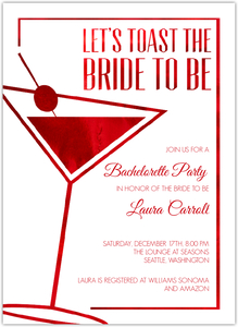 Modern Faux Red Foil Online Bachelorette Party Invitation