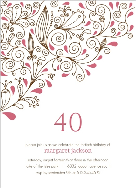 Pink floral 40th birthday party invitation 40th birthday invitations pink floral 40th birthday party invitation filmwisefo Image collections