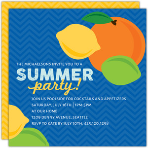 Citrus Punch Printable Summer Party Invitation