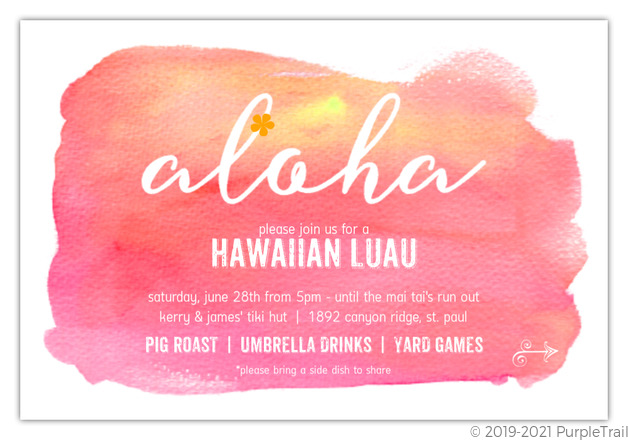 photo regarding Printable Luau Invitations known as Crimson Sunset Aloha Luau Printable Summertime Get together Invitation