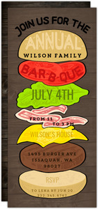 Burger Stack Family Printable Summer Party Invitation