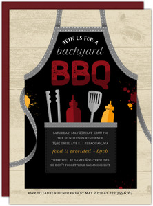 Grilling Apron BBQ Printable Summer Party Invitation